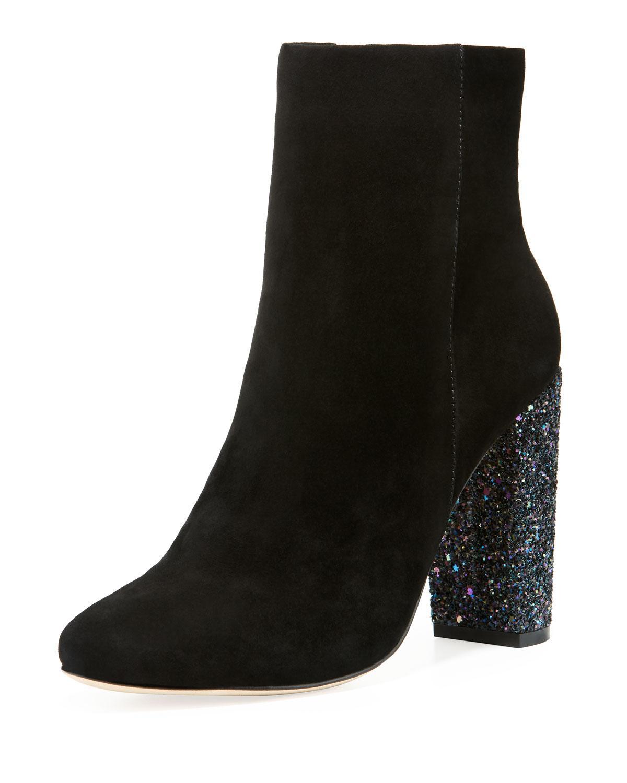 baf00ad154d6 Lyst - Neiman Marcus Bucasia Suede Booties With Glitter Heel in Black
