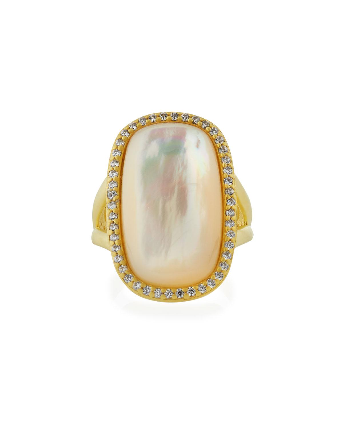 Freida Rothman Mother-of-Pearl Cabochon Ring w/ Pavé Frame, Size 7