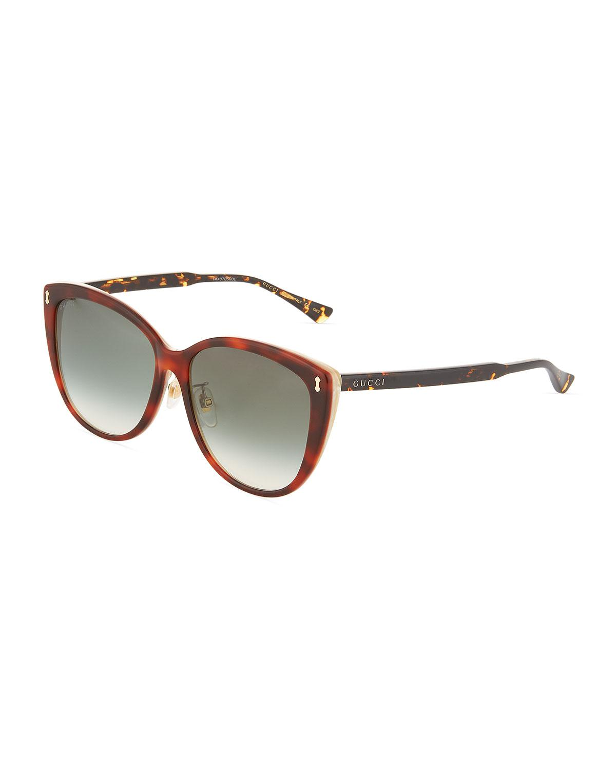 47307a7dd33 Gucci - Green Cat-eye Tortoiseshell Acetate Sunglasses - Gradient Lenses -  Lyst. View fullscreen