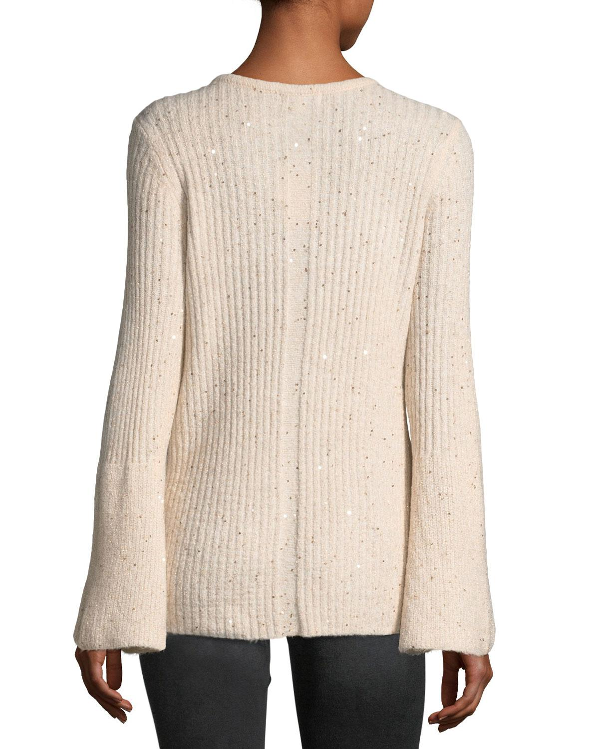 0596bb534611 Lyst - Neiman Marcus Sequined Bell-sleeve Sweater in Pink