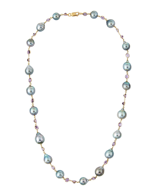 Belpearl 14k Amethyst & Tahitian Pearl Necklace rtF5U