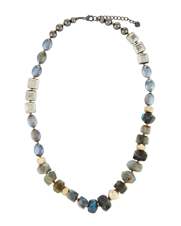 Nakamol Labradorite & Pearly Glass Necklace 2Cab65p5nU