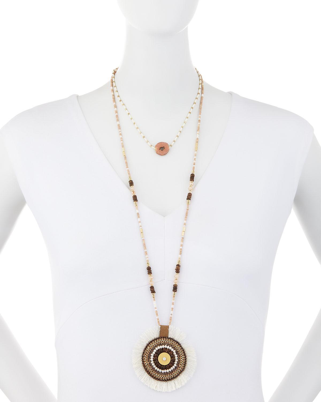 Panacea Double-Layered Circle Pendant Necklace FezEoZ