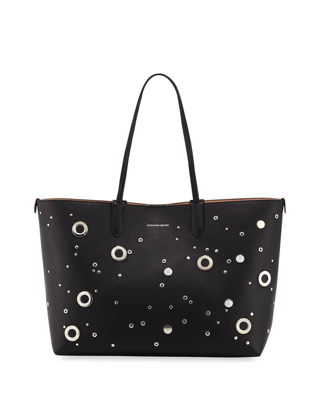 Alexander McQueen Grommet Medium Shopper Tote Bag, Black