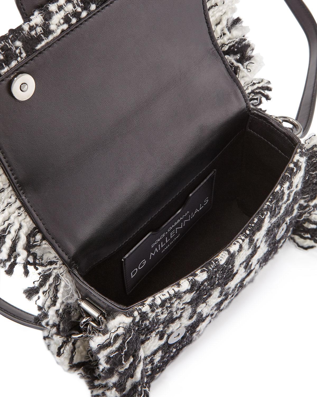 a8fc591a0032 Lyst - Dolce   Gabbana Dg Midi Millennials Tweed Crossbody Bag in Black