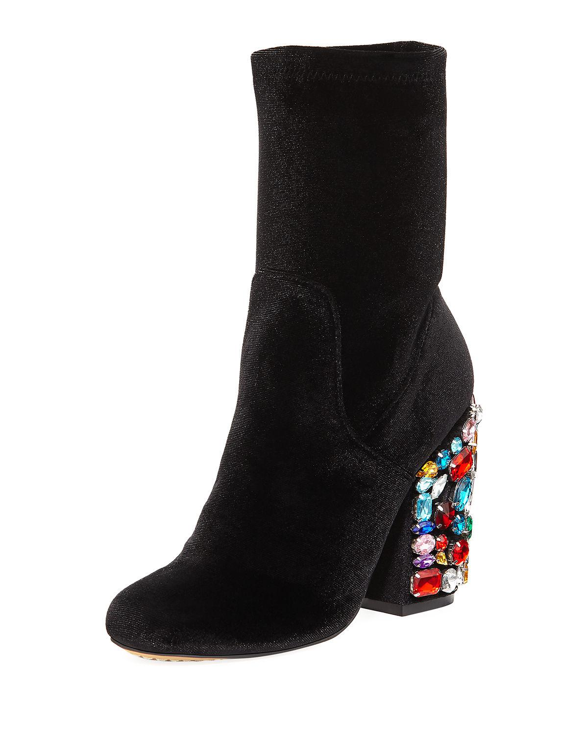 2705be345301 Neiman Marcus. Women s Black Embellished Faux-suede Pearly-heel Bootie