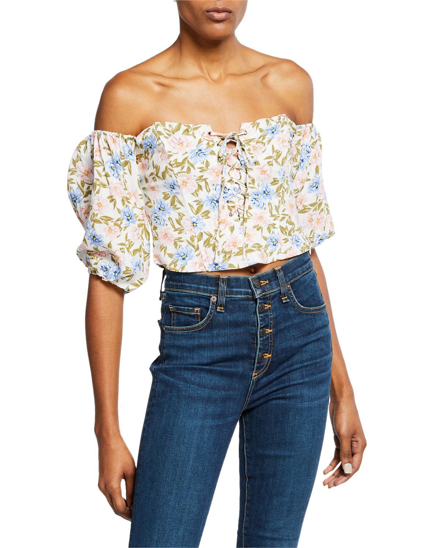49307c210455 Lyst - Astr Raelynn Floral Off-the-shoulder Crop Top in Blue