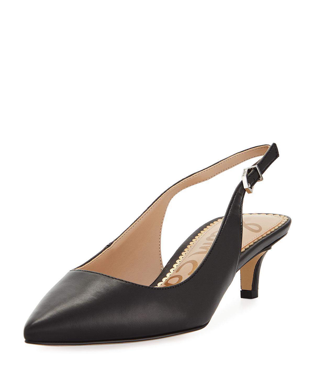 7a8eba0319b4e8 Sam Edelman. Women s Black Ludlow Leather Kitten-heel Slingback Pumps