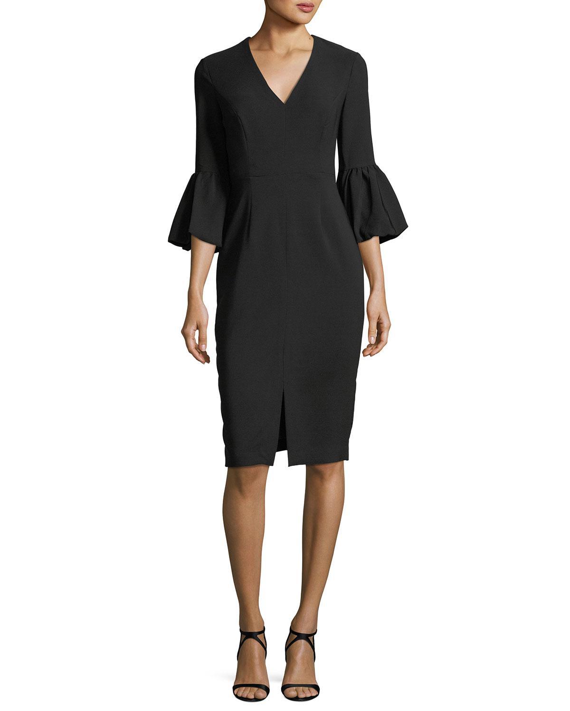Lyst - Maggy London Heidi Balloon-sleeve Sheath Cocktail Dress in Black