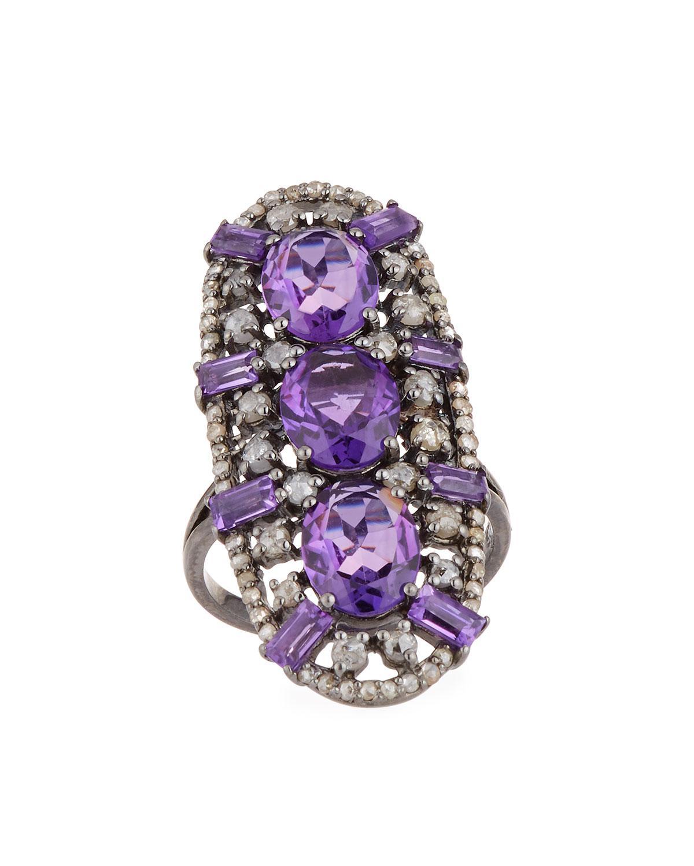 Bavna Blue & Multihued Sapphire Ring, Size 7