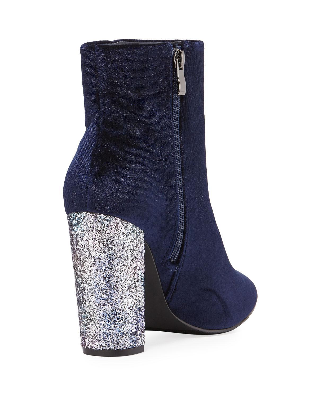 f79fb47d23f1 Lyst - Neiman Marcus Bucasia Velvet Glitter-heel Booties in Blue