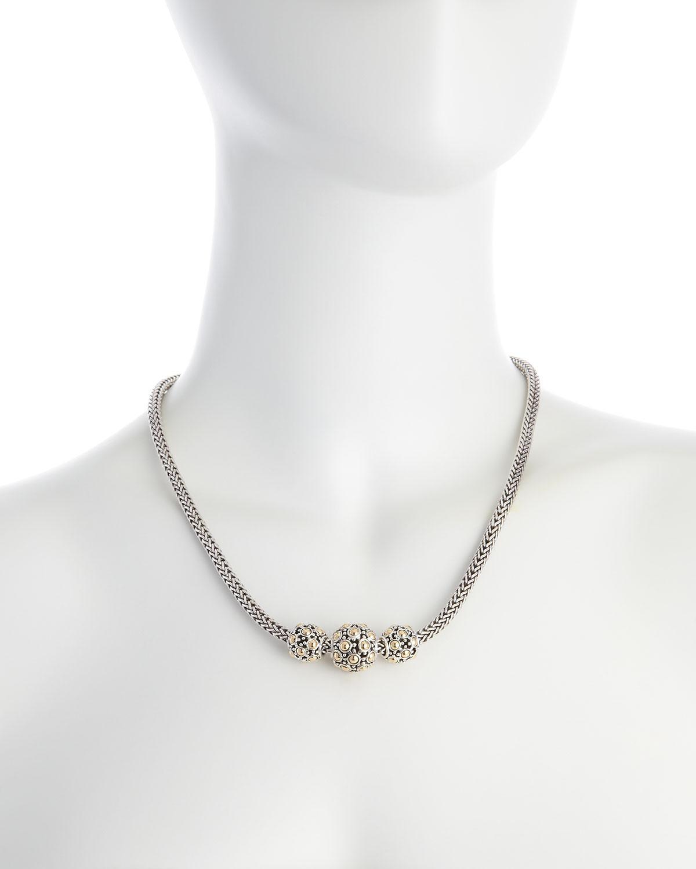 John Hardy Jaisalmer Gold-Silver Three-Bead Necklace qrgzw5u0