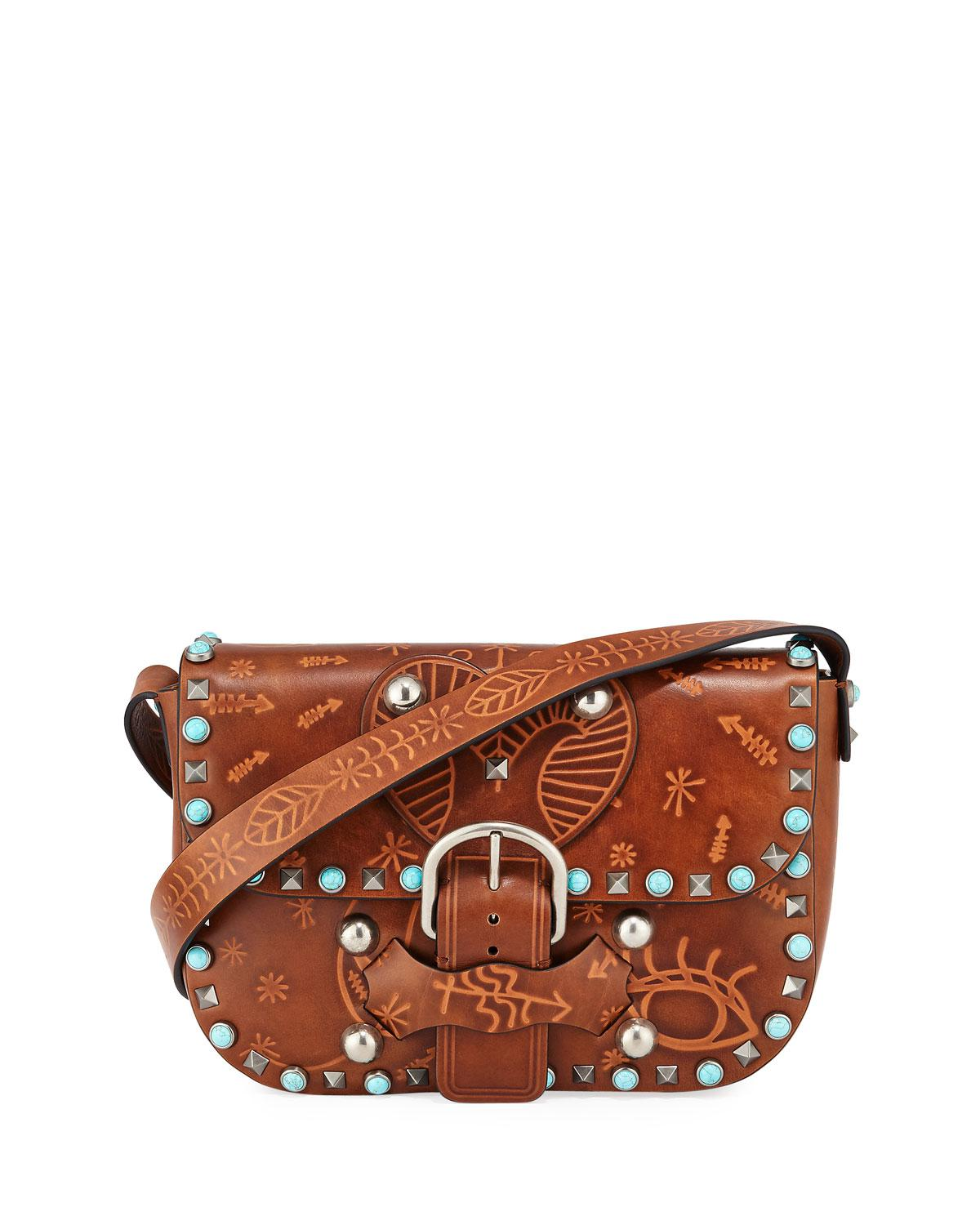 7524fd7a3c Valentino. Women s Brown Rockstud Rolling Butterfly Embossed Shoulder Bag