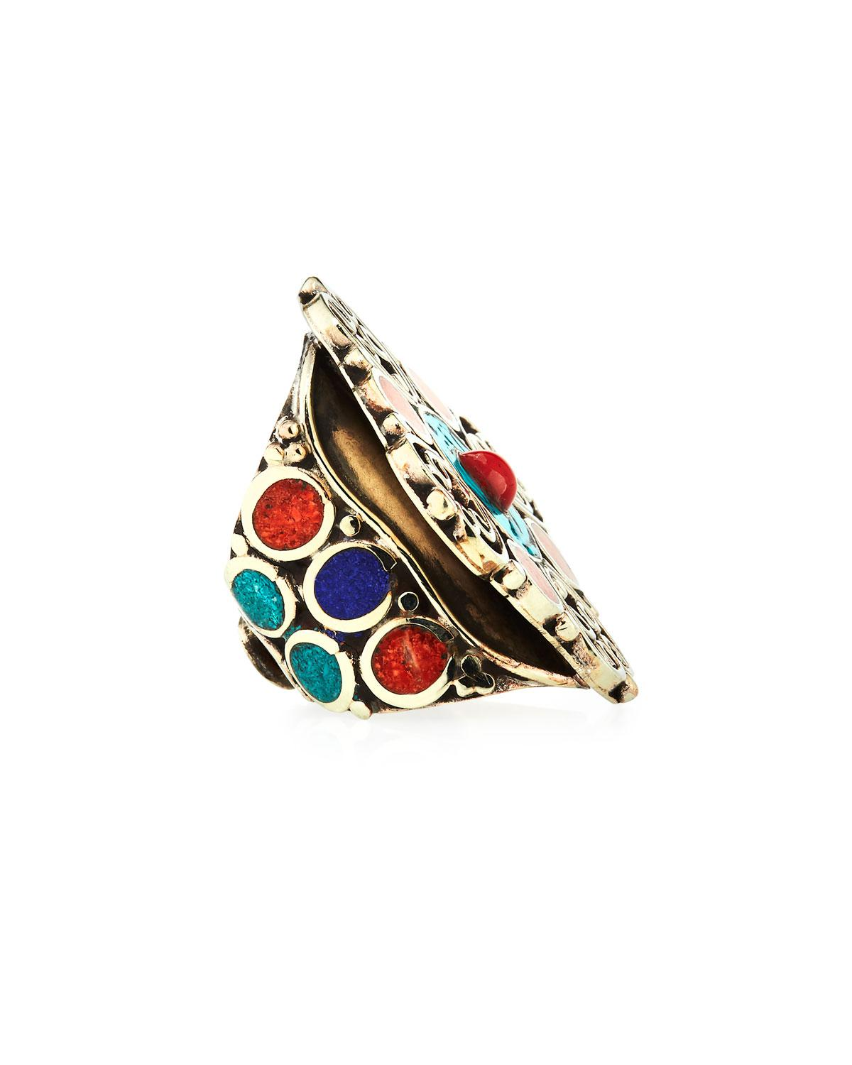 Devon Leigh Coral & Turquoise Adjustable Flower Ring 6ZXEA