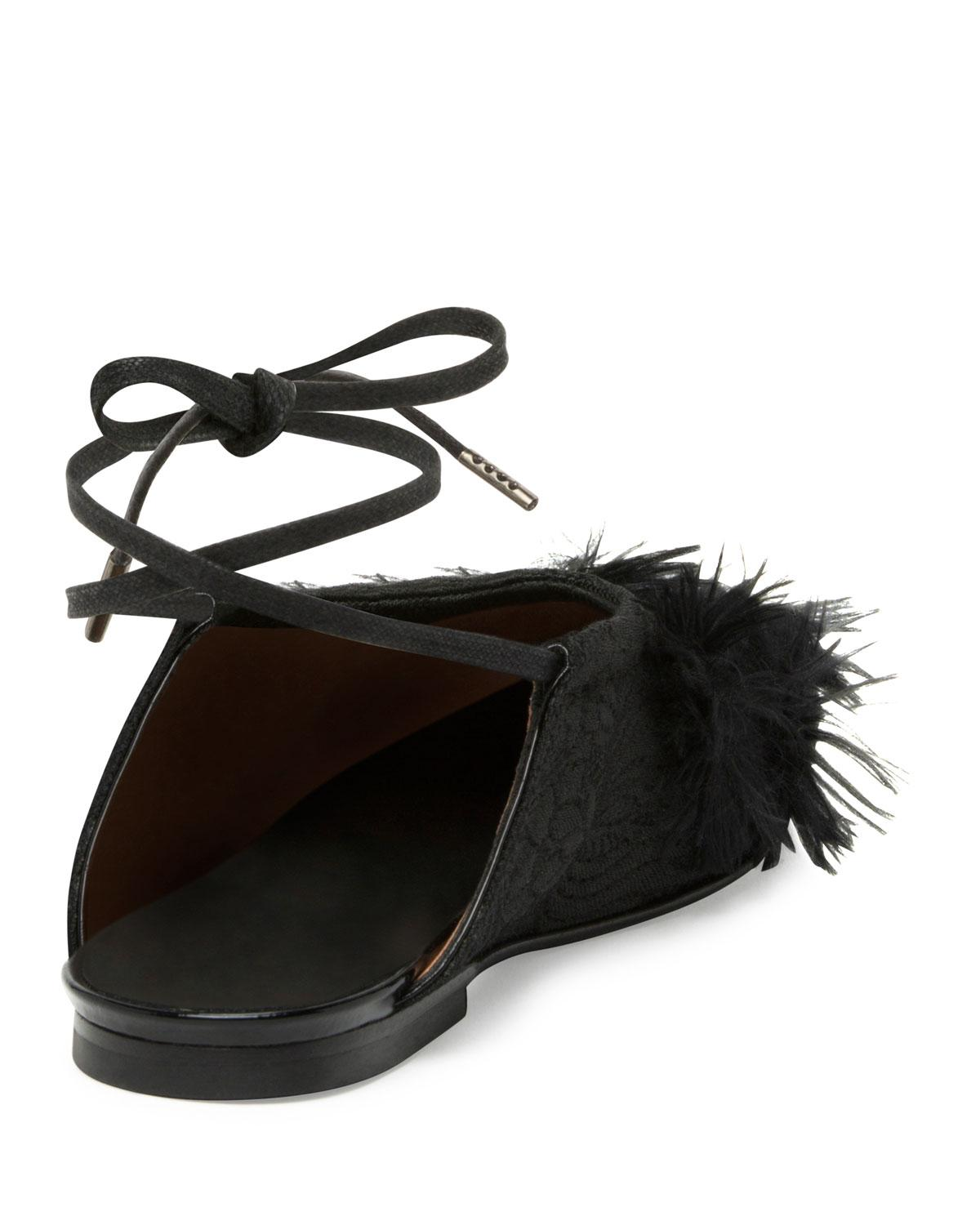 9be74512aa Lyst - Dries Van Noten Faux-Feather Embellished Ankle-wrap Flats in ...