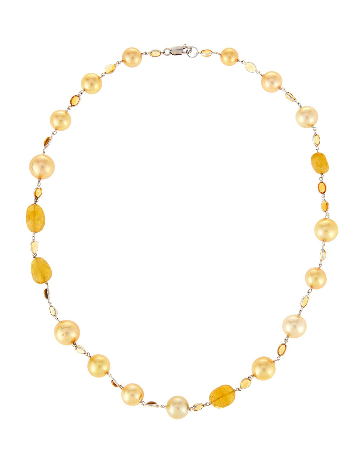 Belpearl 18k Single South Sea Pearl Wire Necklace, Golden