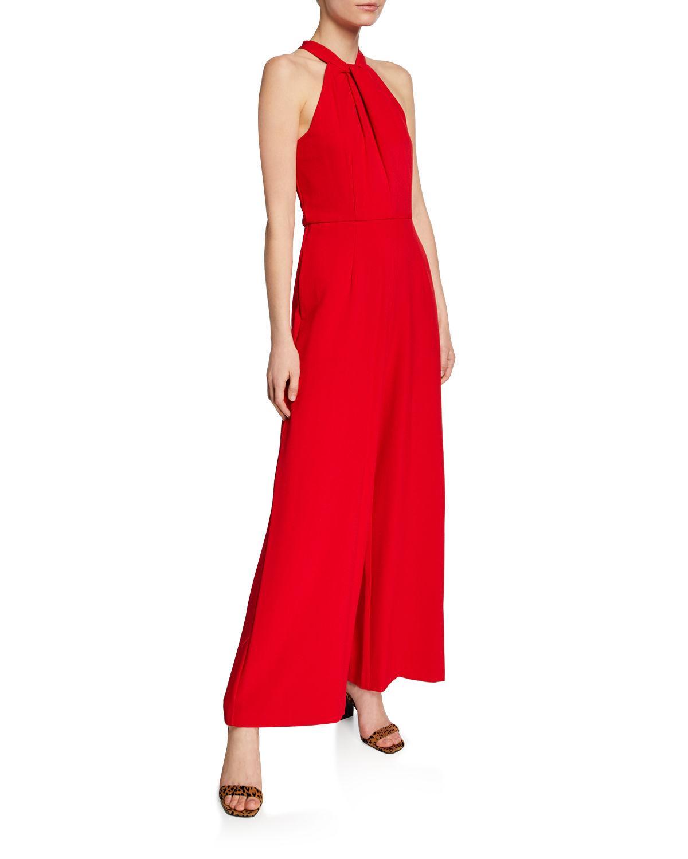 7a22cbf7820400 Lyst - Julia Jordan Twist-neck Wide-leg Halter Jumpsuit in Black