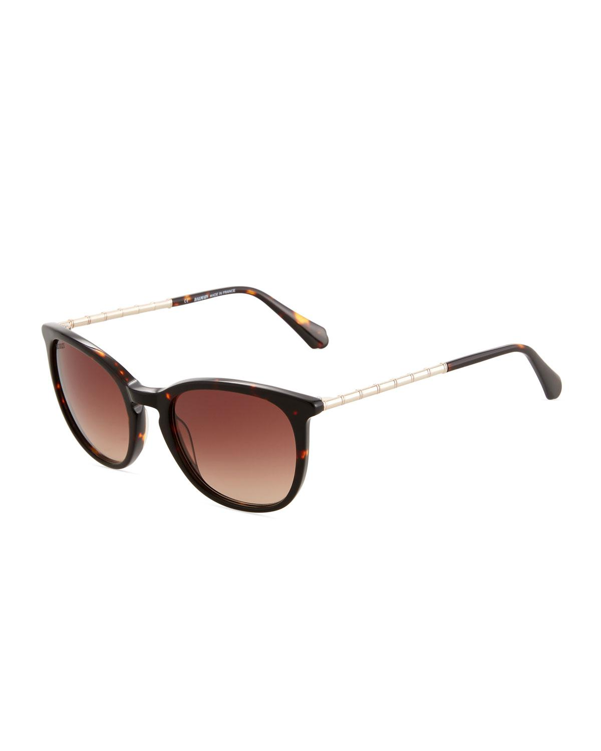 4c07dc59d6 Lyst - Balmain Round Tortoiseshell Acetate metal Sunglasses in Brown