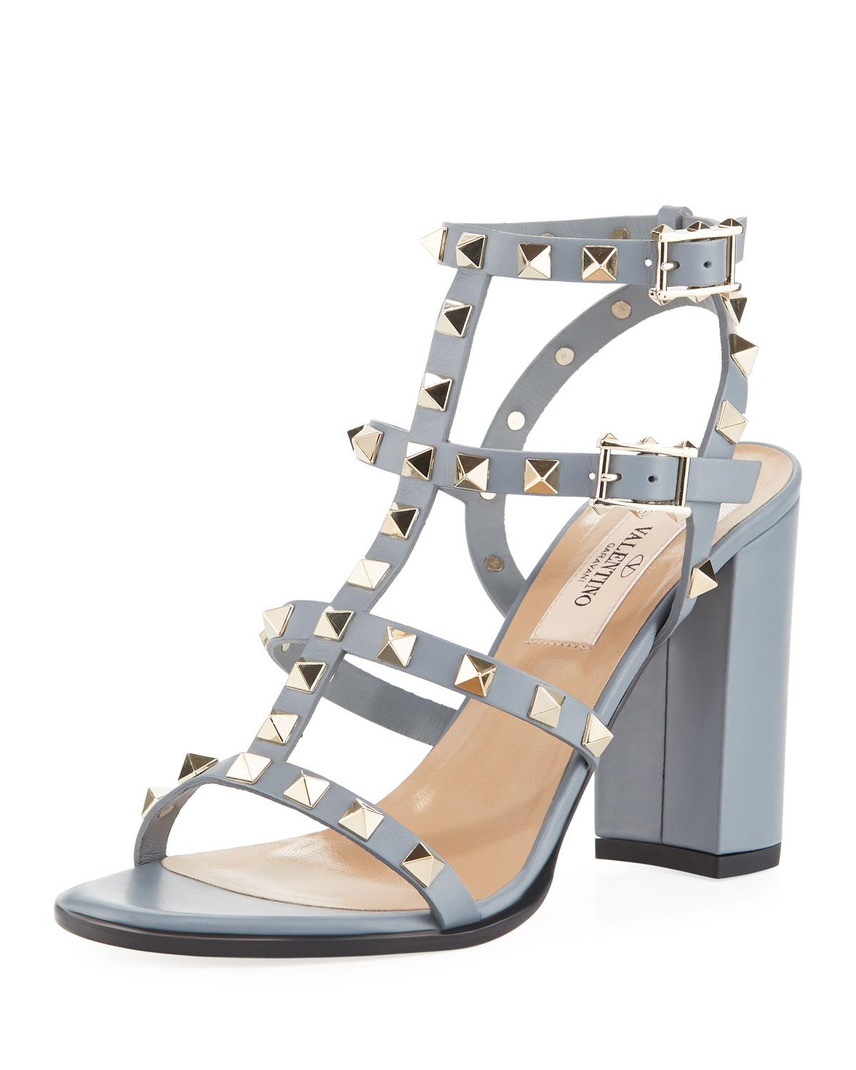 fe92861593d Lyst - Valentino Rockstud Caged Leather Sandal in Gray