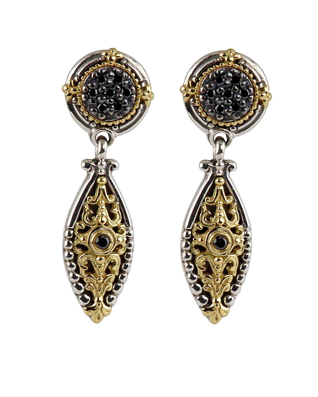 Konstantino Women S Asteri Pave Black Diamond Dangle Earrings