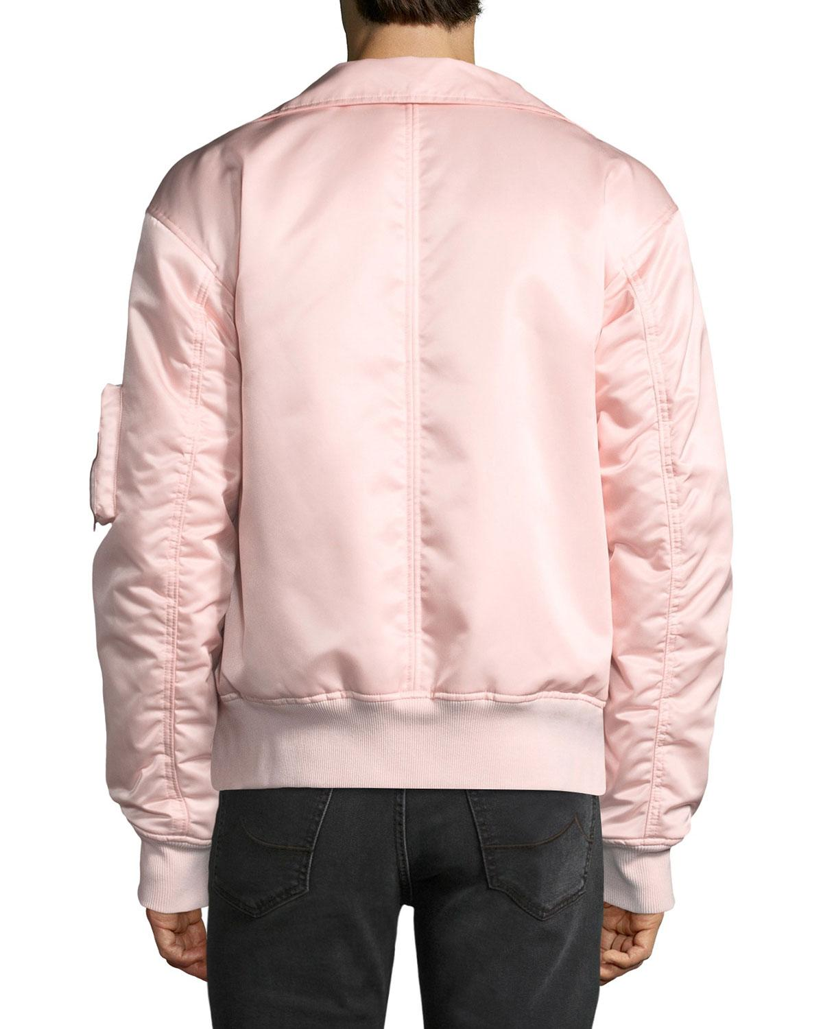 e4e821dcb Lyst - Helmut Lang Men's Panel-neck Satin Bomber Jacket in Pink for Men
