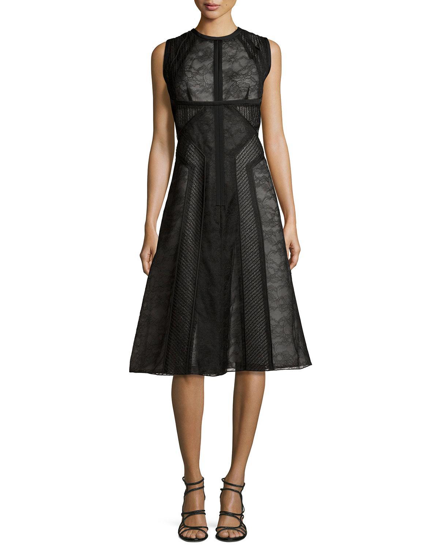 776e83ed0ef Lyst - J. Mendel Sleeveless Lace Paneled Dress in Black