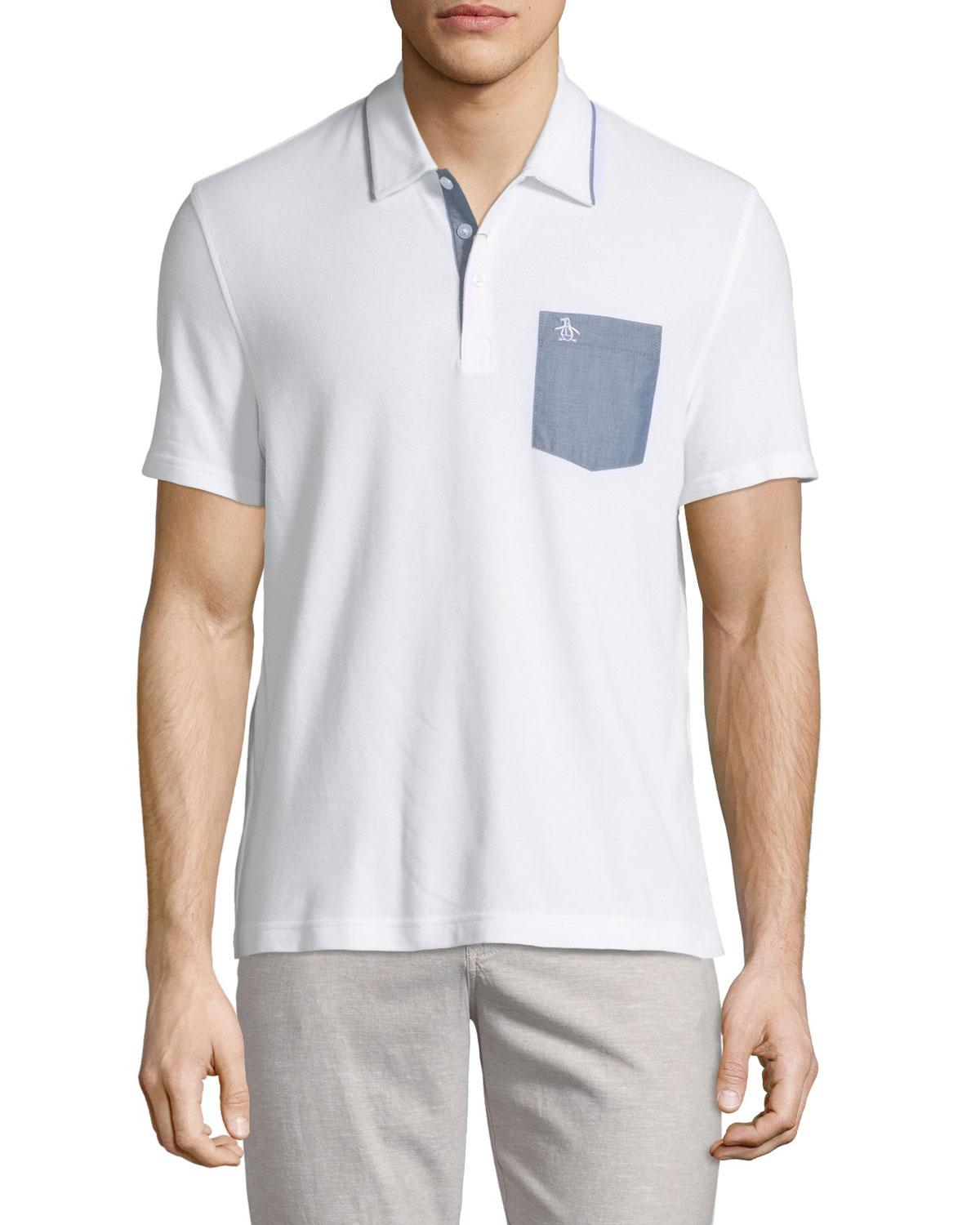 8a14ddb42f7a Lyst - Original Penguin Chambray-pocket Polo Shirt in White for Men