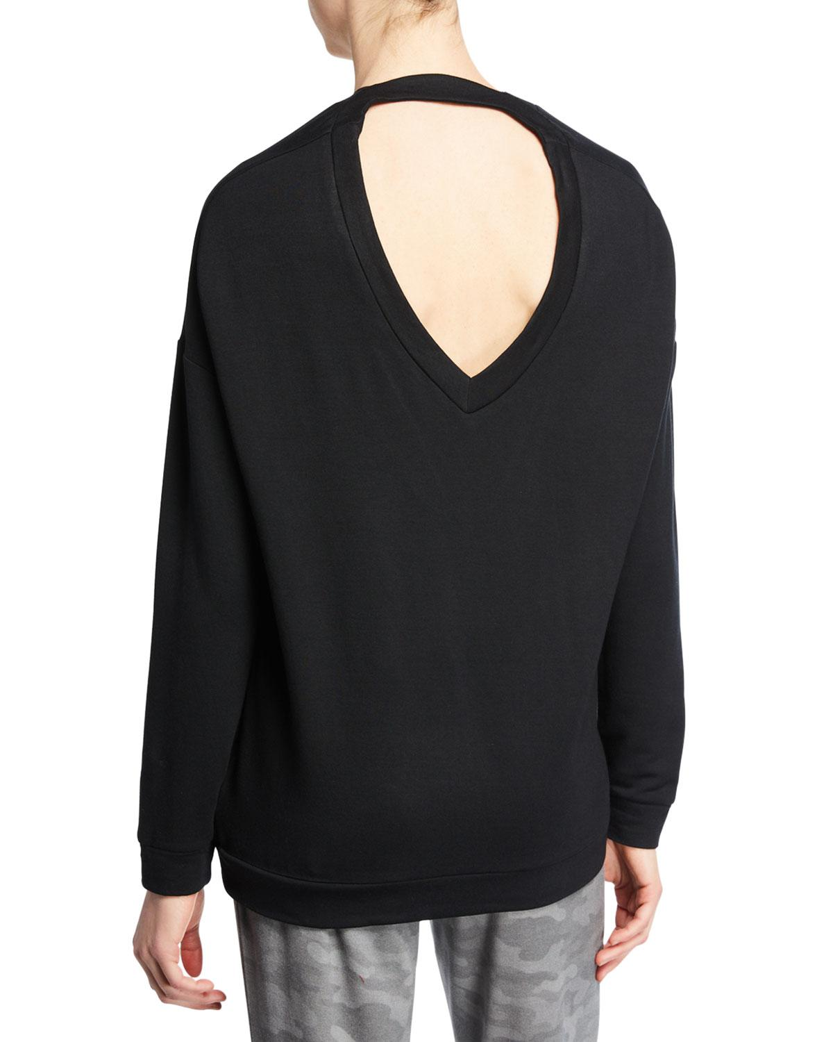 4577a2f9c663 Lyst - Threads For Thought Opal V-neck Cutout Sweatshirt in Black