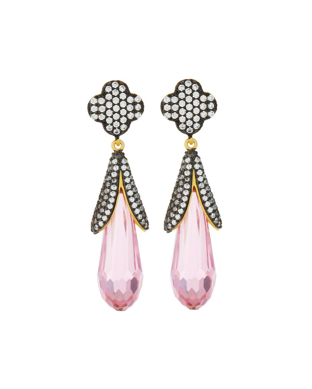 Freida Rothman Blackened Pave Clover Drop Earrings ZemPMrKC7V