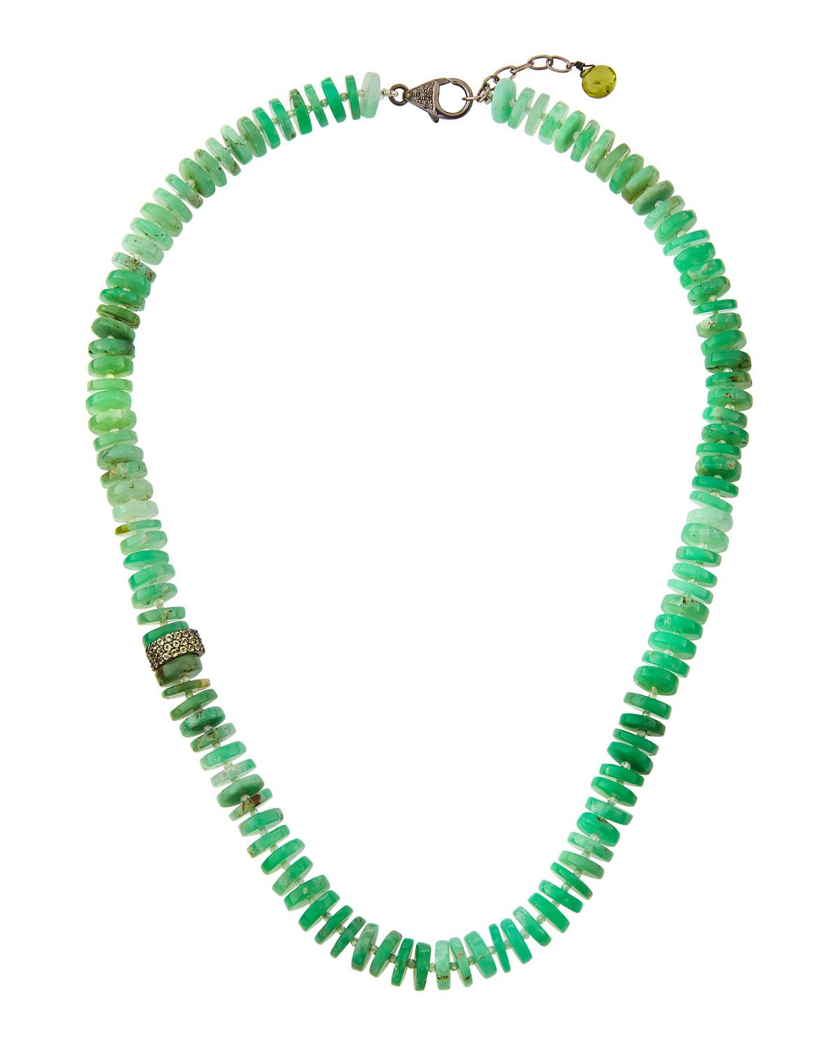 Bavna Chrysoprase Rondelle Necklace 0Ybbg