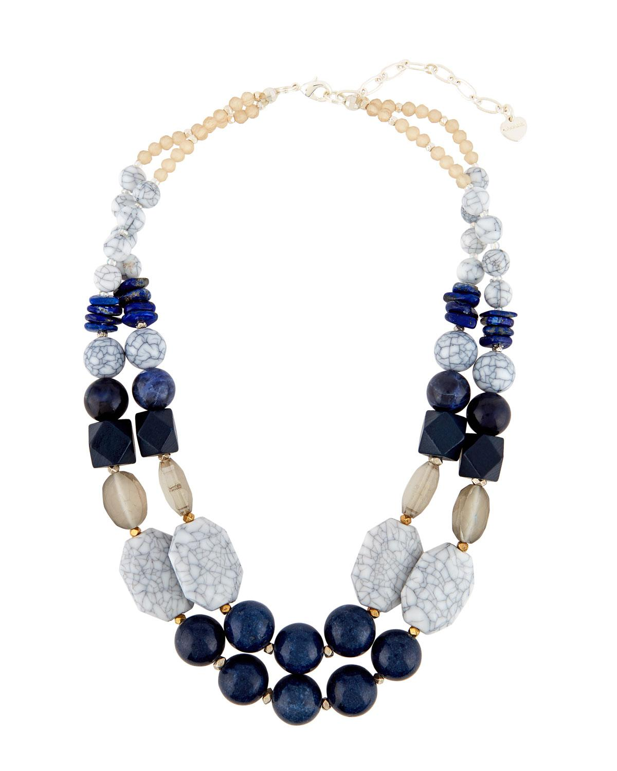 Nakamol Mixed Stone Double-Layer Statement Necklace HNnvJ7