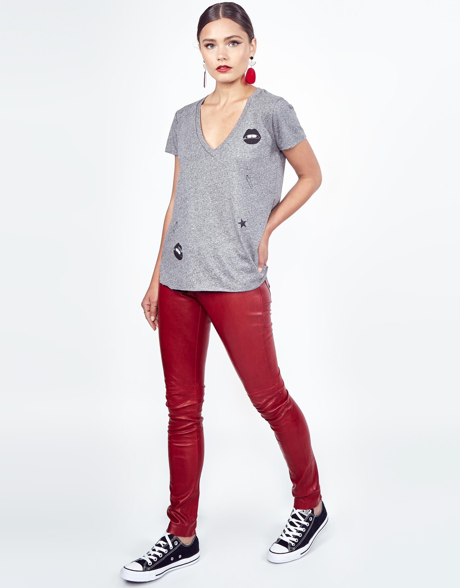 aea5fc8ee6d Lyst - Lauren Moshi Emmalyn Foil Zipper Mouth in Gray