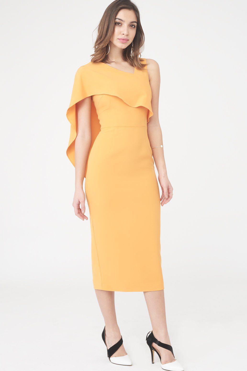 Get Authentic Cheap Online Midi Dress with Drape One Shoulder - Tangerine Lavish Alice Clearance Order In China Cheap Price Cheap Sale Sale Sale Cheapest Price npqq80kJ