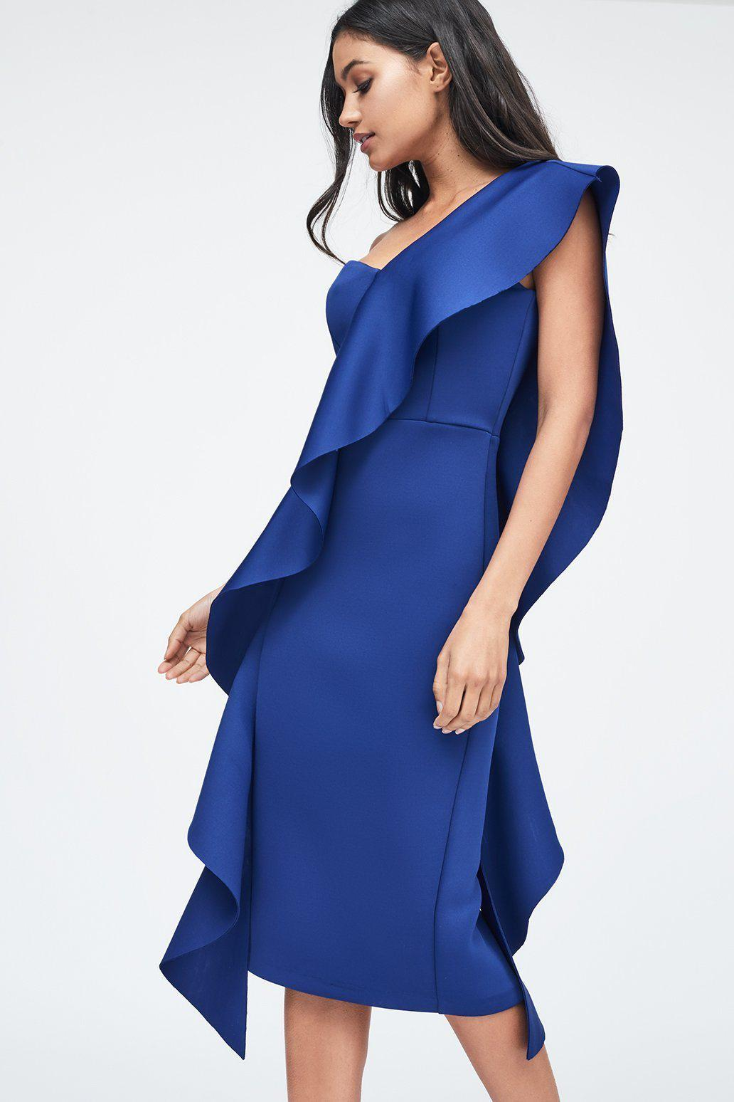 aaca1e047f5 Lavish Alice - Exaggerated Frill One Shoulder Scuba Midi Dress In Blue -  Lyst. View fullscreen