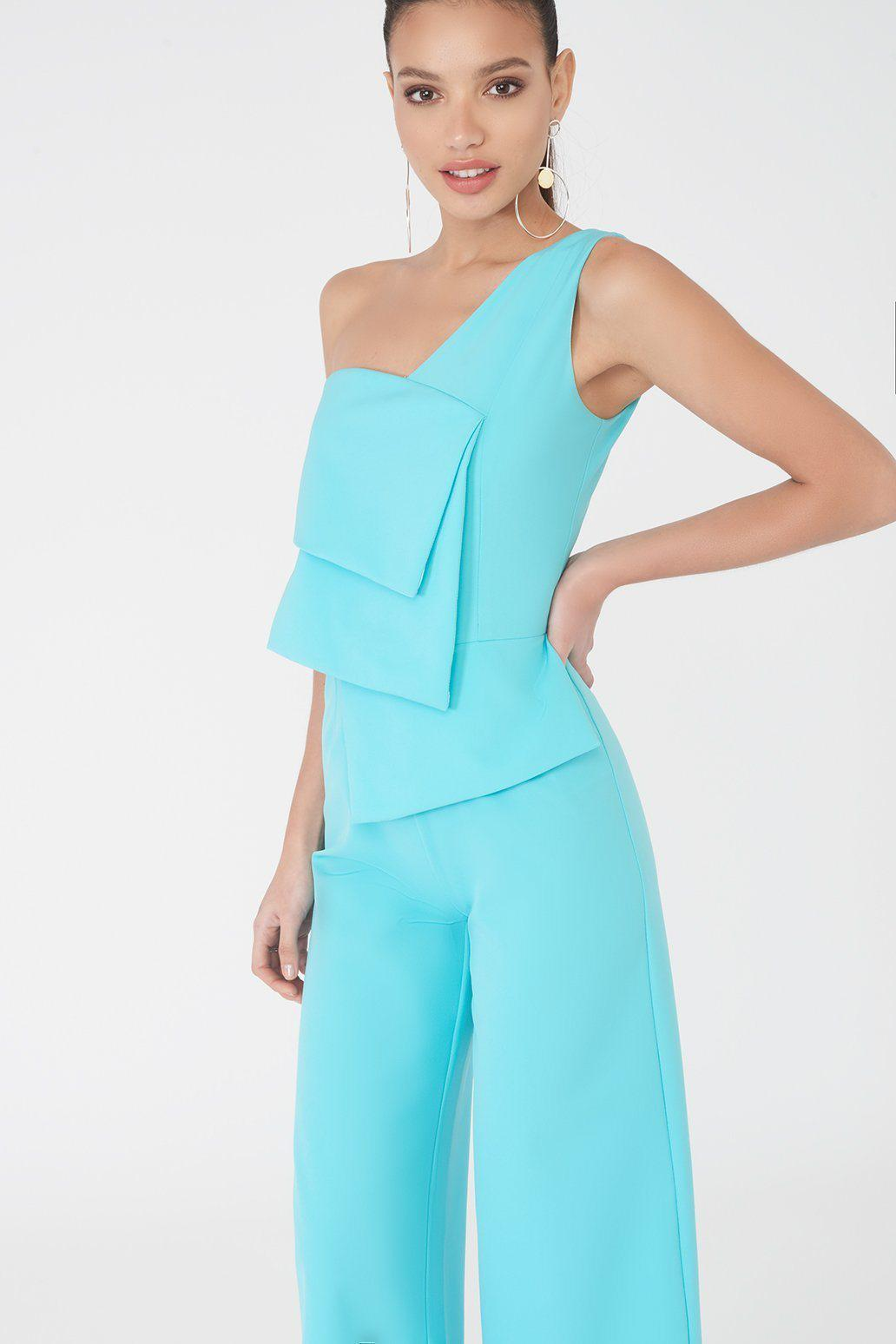 eb3f6468312 Lavish Alice - Blue Layered One Shoulder Culotte Jumpsuit In Turquoise -  Lyst. View fullscreen