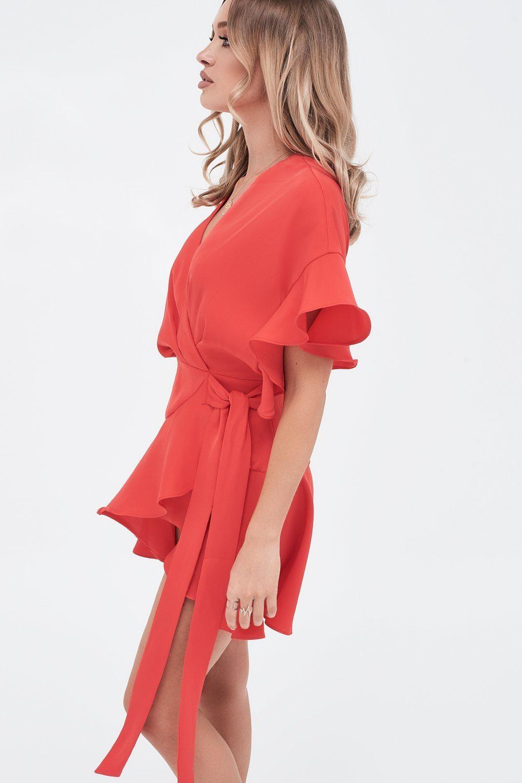 0b75f81f569 Lavish Alice - Frill Sleeve Wrap Mini Dress In Scarlet Red - Lyst. View  fullscreen