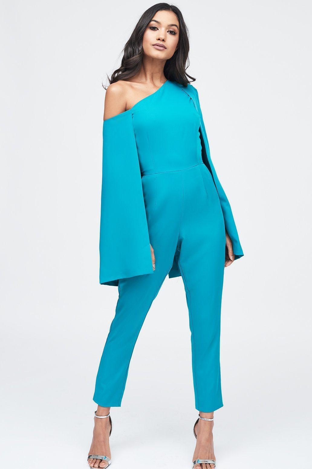 3d1c6ea99bf Lyst - Lavish Alice One Shoulder Cape Tailored Jumpsuit In Jade ...