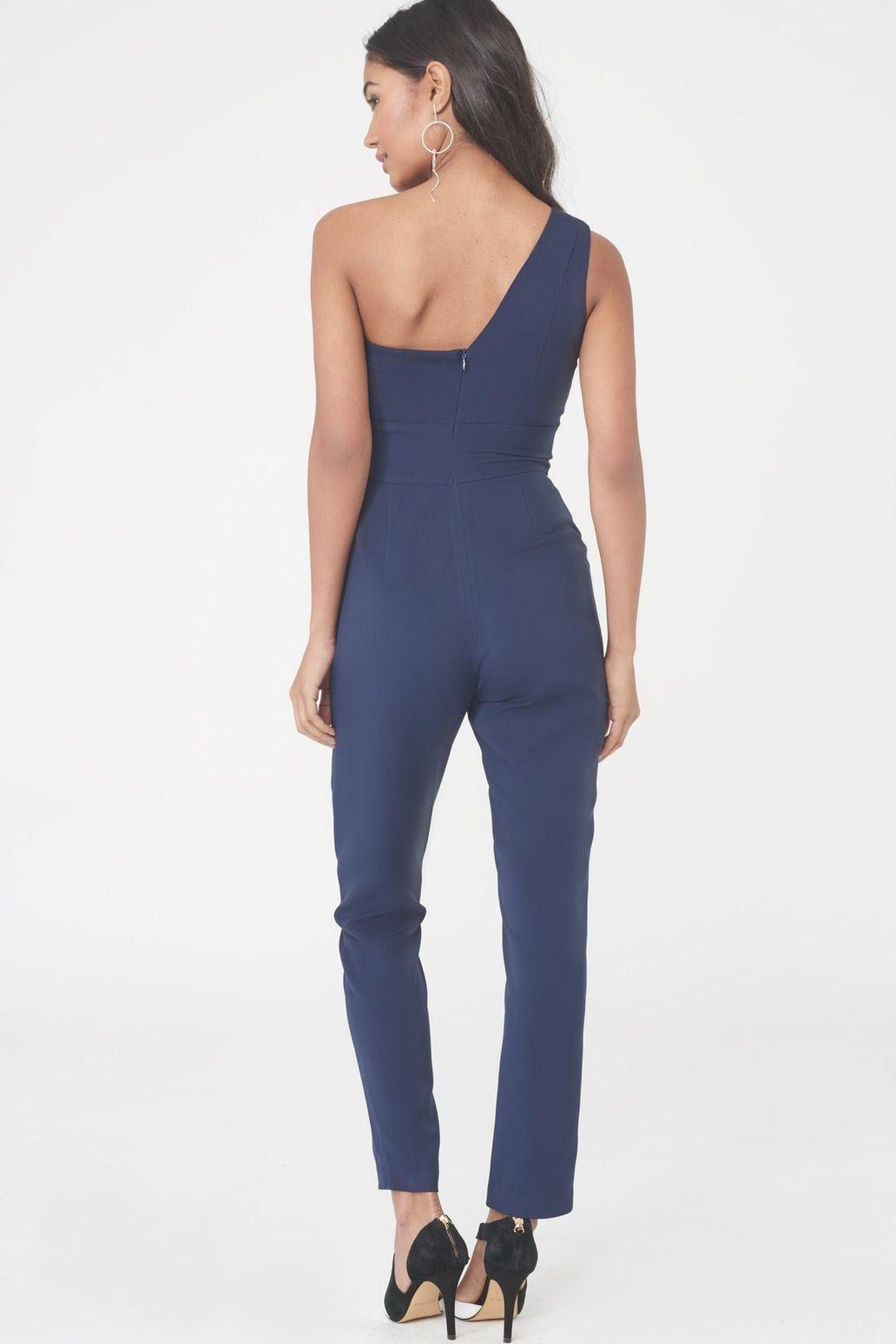 1a25401275a Lyst - Lavish Alice One Shoulder Bodice Jumpsuit in Blue - Save 49%