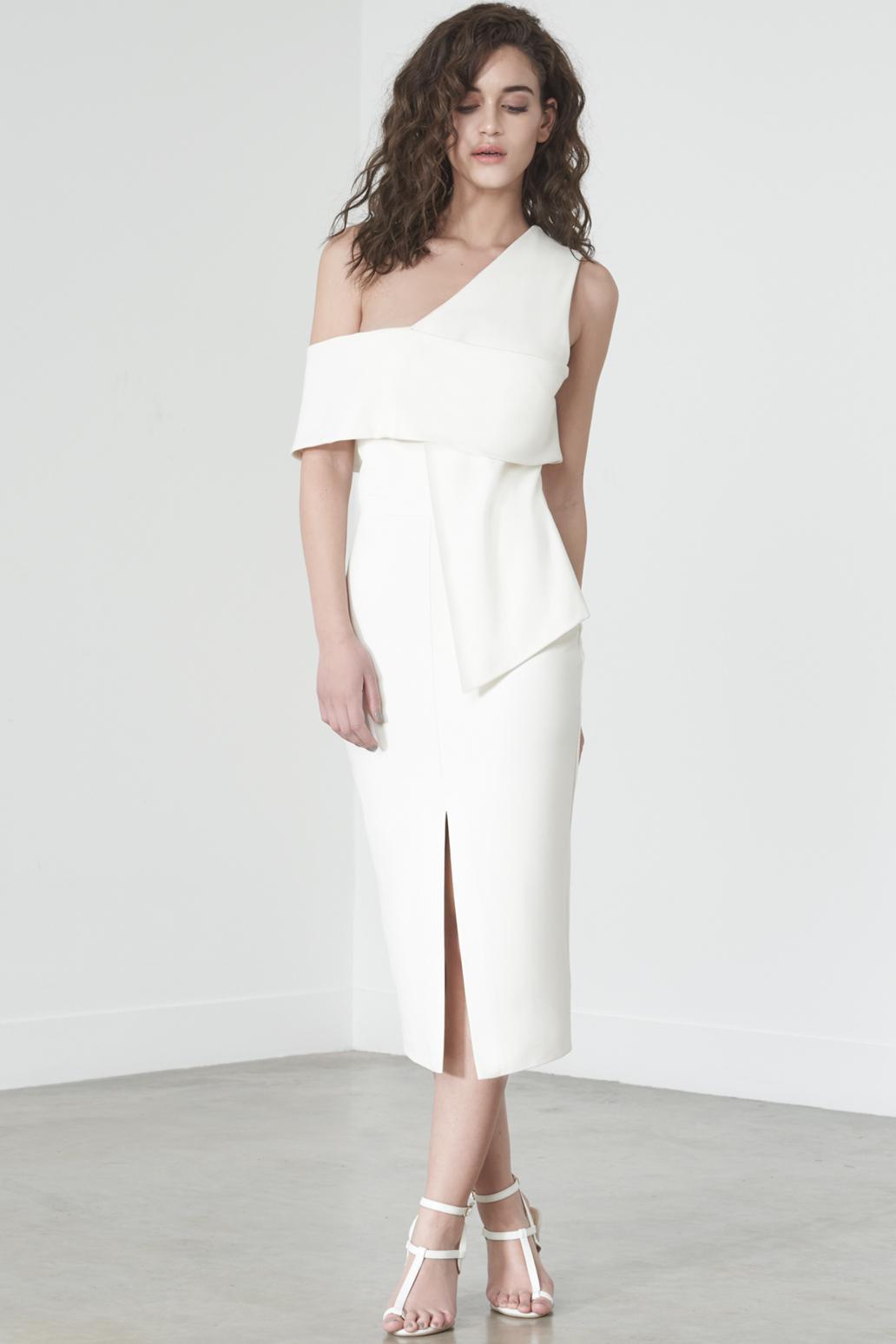 936f6fa30ff75 Lyst - Lavish Alice Asymmetric Cold Shoulder Dress In Off White in White