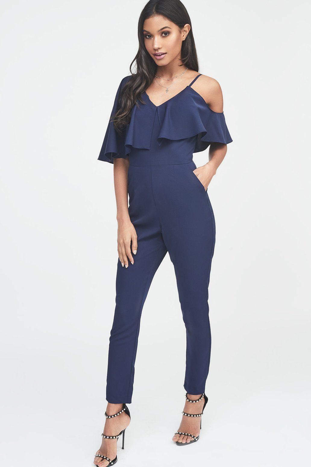 5e20618b4505 Lyst - Lavish Alice Asymmetric Off The Shoulder Tapered Jumpsuit In ...
