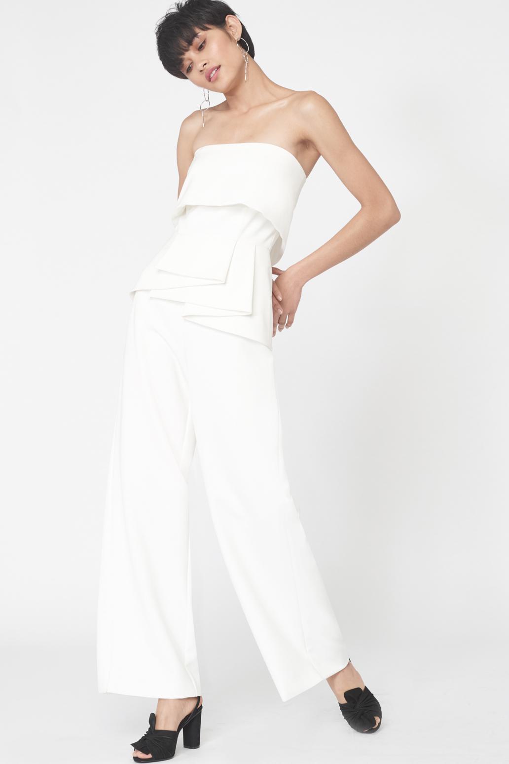ea308c253e1f Lyst - Lavish Alice Strapless Frill Jumpsuit In Off White in White