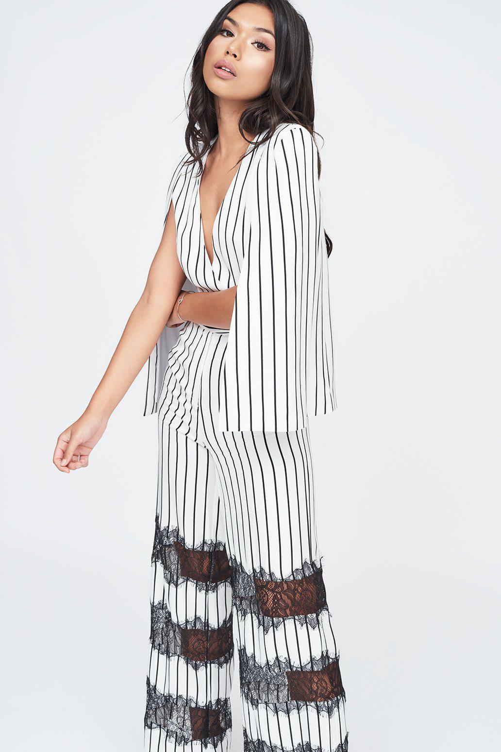 015de19a326 Lavish Alice - Multicolor Stripe Lace Insert Cape Jumpsuit - Lyst. View  fullscreen