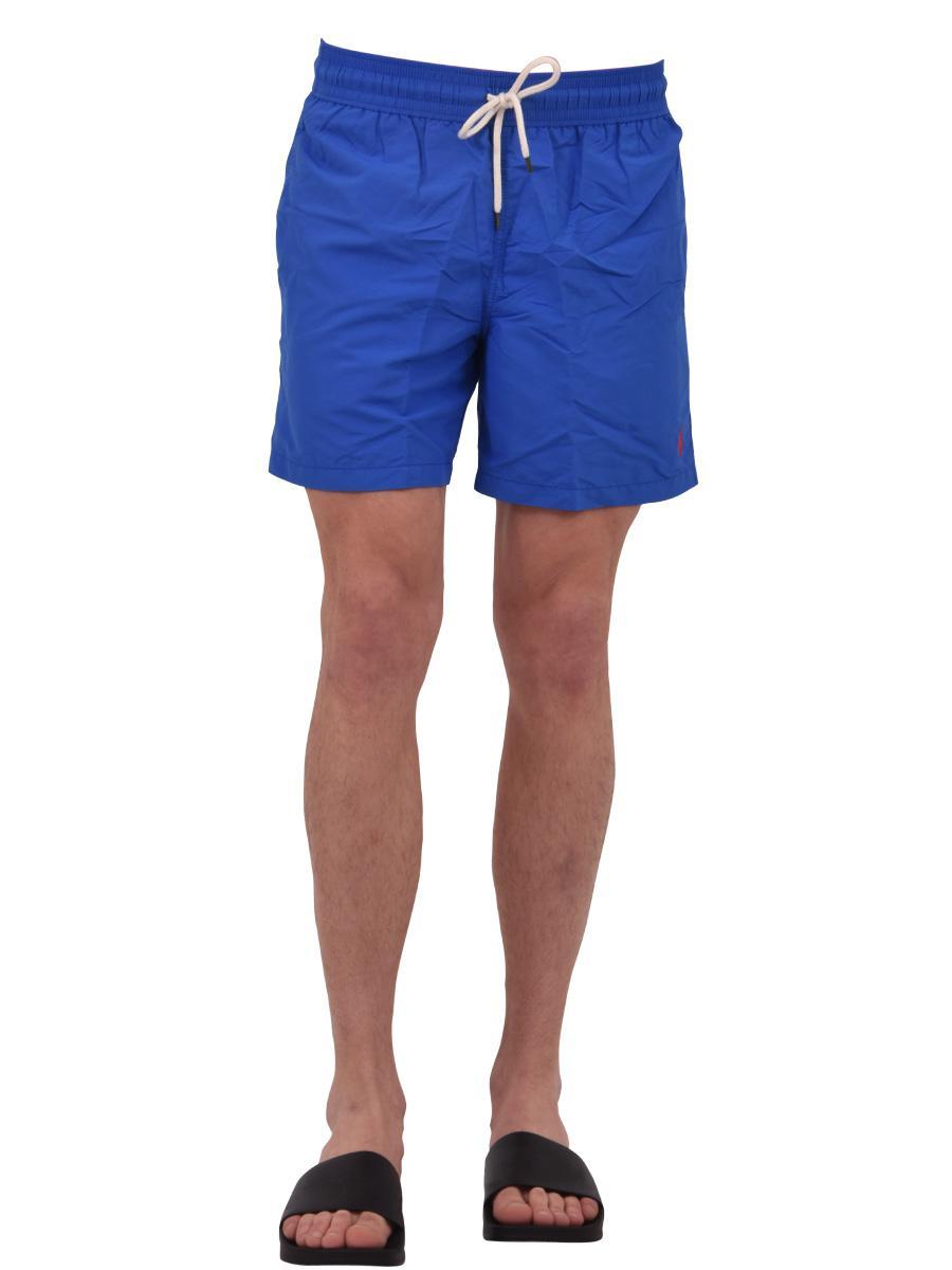 b48b76a456 ... promo code for polo ralph lauren logoed swim shorts blue for men lyst.  view fullscreen
