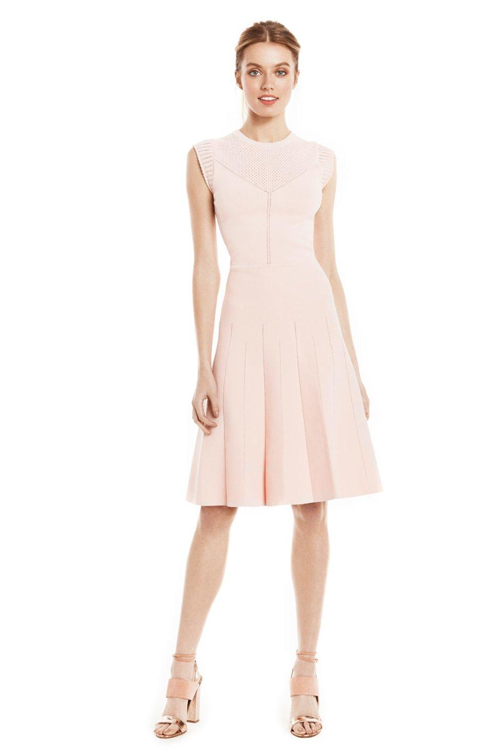 textured pointelle flare dress