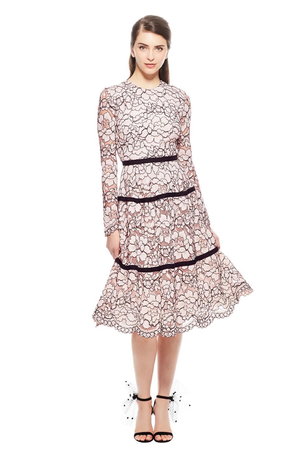 88cfaa25c70 Lyst - Lela Rose Grosgrain-trimmed Corded Lace Dress