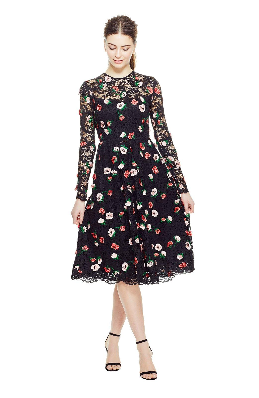 Lela Rose Floral Embroidered Lace Long Sleeve Full Skirt