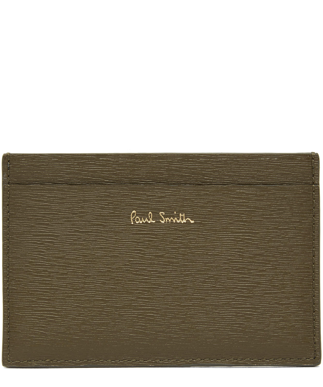 4257b5cb862cd Paul Smith - Green Artist Stripe Straw Grain Leather Card Holder for Men -  Lyst. View fullscreen