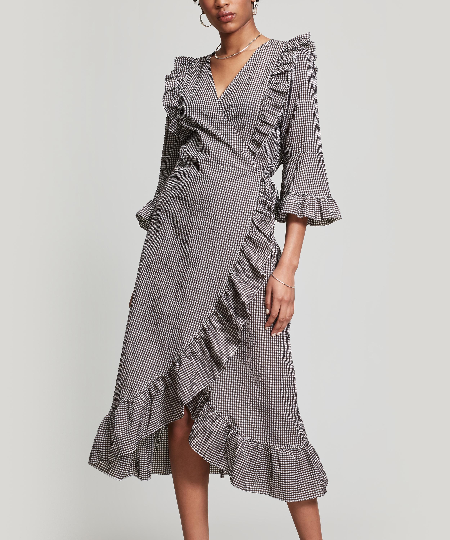 ee40ae2a Ganni Charron Gingham Cotton Blend Wrap Dress in Gray - Lyst