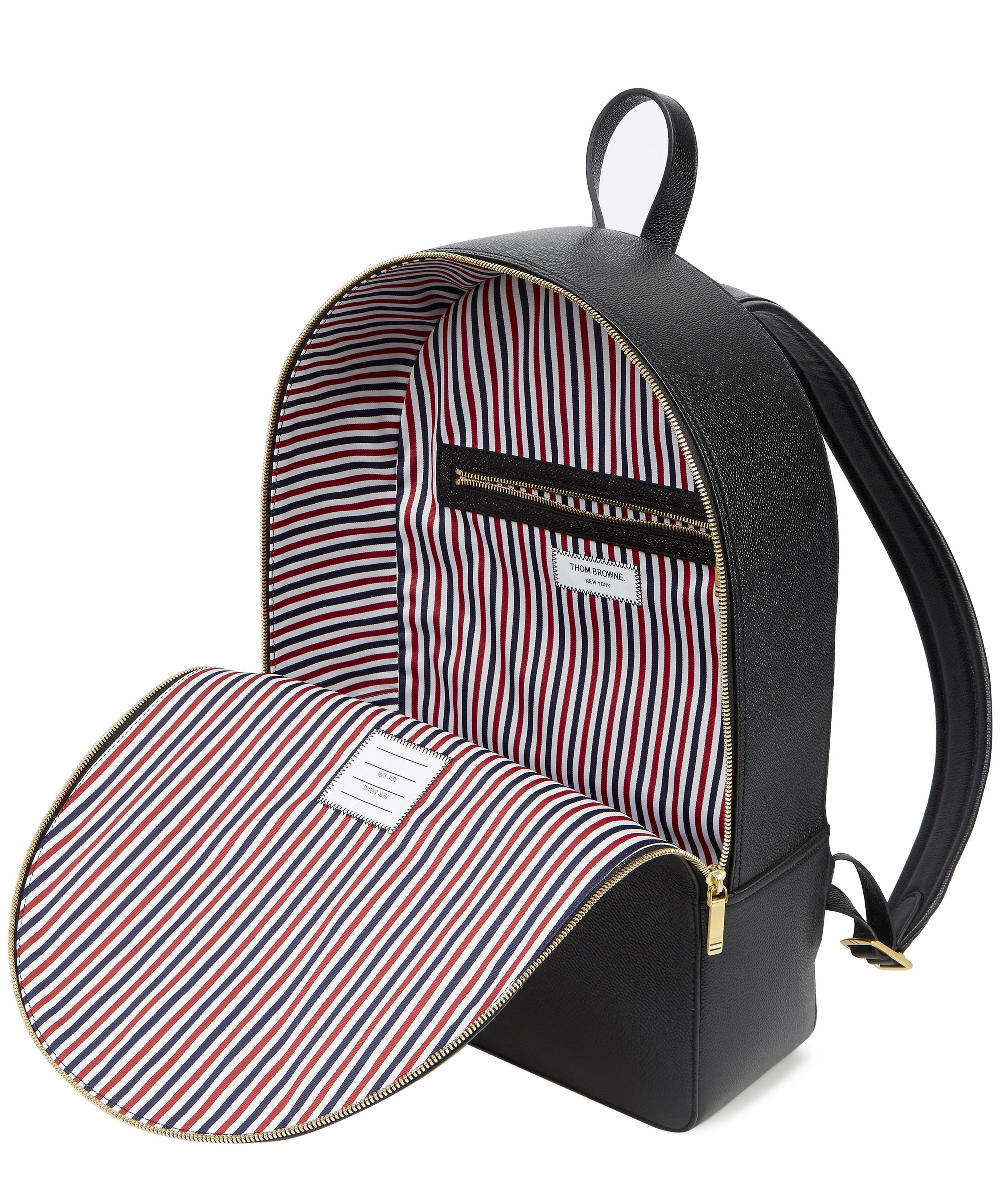 a869d9ee5d Lyst - Thom Browne Pebbled Leather Diagonal Stripe Backpack in Black