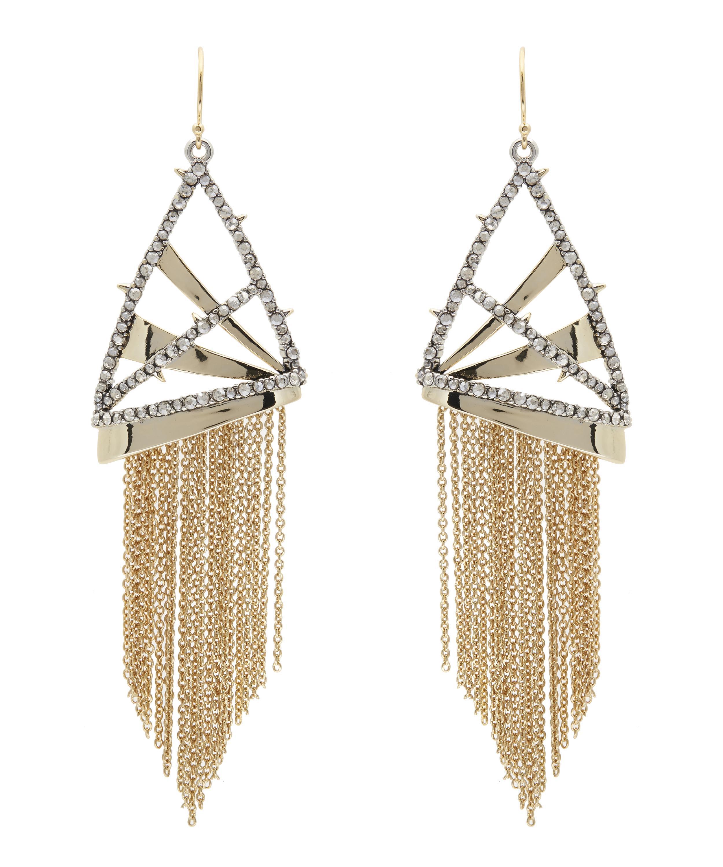 Alexis Bittar Crystal Encrusted Plaid Fringe Earring iNotlES2F
